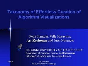 Taxonomy of Effortless Creation of Algorithm Visualizations Petri