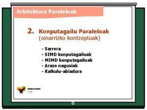 Arkitektura Paraleloak 2 Konputagailu Paraleloak oinarrizko kontzeptuak Sarrera