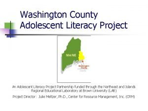 Washington County Adolescent Literacy Project An Adolescent Literacy
