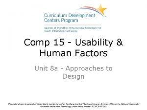 Comp 15 Usability Human Factors Unit 8 a