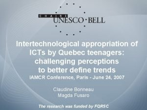 Intertechnological appropriation of ICTs by Quebec teenagers challenging
