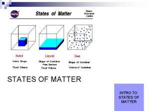 STATES OF MATTER INTRO TO STATES OF MATTER