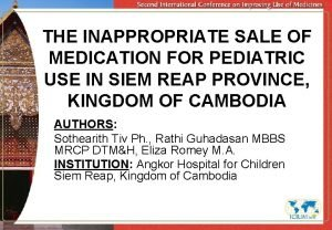 THE INAPPROPRIATE SALE OF MEDICATION FOR PEDIATRIC USE