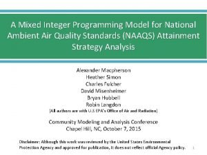 A Mixed Integer Programming Model for National Ambient
