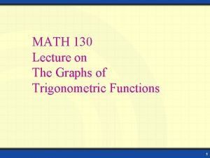 MATH 130 Lecture on The Graphs of Trigonometric