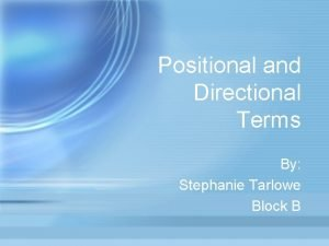 Positional and Directional Terms By Stephanie Tarlowe Block