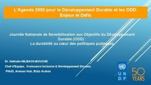 LAgenda 2030 pour le Dveloppement Durable et les