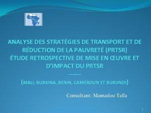 ANALYSE DES STRATGIES DE TRANSPORT ET DE RDUCTION