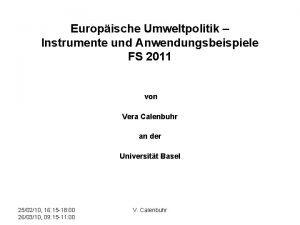 Europische Umweltpolitik Instrumente und Anwendungsbeispiele FS 2011 von