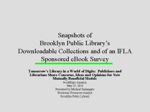 Snapshots of Brooklyn Public Librarys Downloadable Collections and