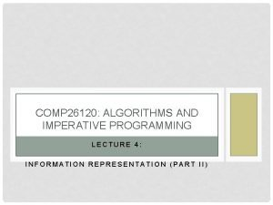 COMP 26120 ALGORITHMS AND IMPERATIVE PROGRAMMING LECTURE 4