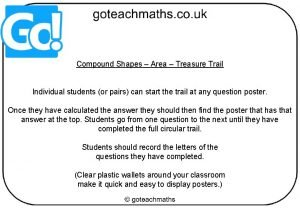 Compound Shapes Area Treasure Trail Individual students or