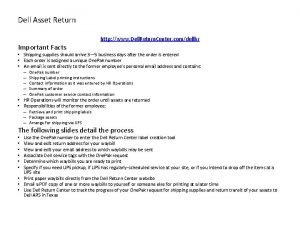 Dell Asset Return Important Facts http www Dell