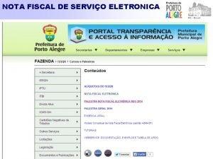 NOTA FISCAL DE SERVIO ELETRONICA NOTA FISCAL DE