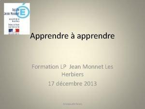 Apprendre apprendre Formation LP Jean Monnet Les Herbiers