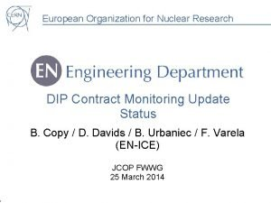 European Organization for Nuclear Research DIP Contract Monitoring