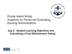 Rhode Island Model Academy for Personnel Evaluating Building