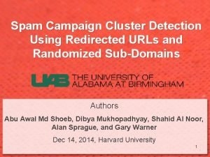 Spam Campaign Cluster Detection Using Redirected URLs and