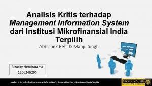 Analisis Kritis terhadap Management Information System dari Institusi
