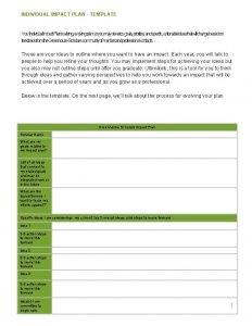 INDIVIDUAL IMPACT PLAN TEMPLATE Your Individual Impact Planisaliving