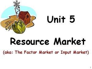 Unit 5 Resource Market aka The Factor Market