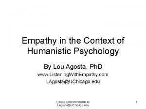 Empathy in the Context of Humanistic Psychology By