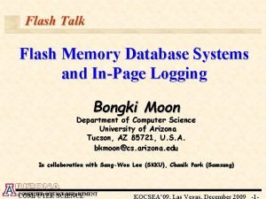Flash Talk Flash Memory Database Systems and InPage