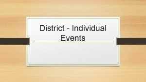 District Individual Events DUES Drama dues 20 must
