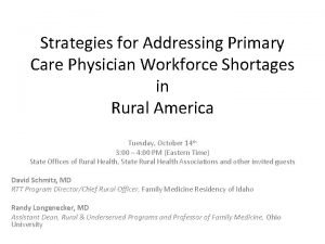 Strategies for Addressing Primary Care Physician Workforce Shortages