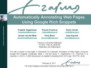 Automatically Annotating Web Pages Using Google Rich Snippets