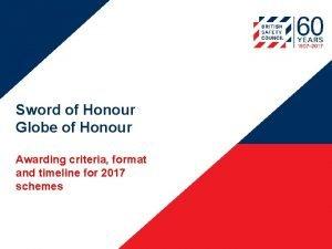 Sword of Honour Globe of Honour Awarding criteria