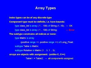 Array Types Index types can be of any