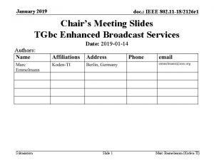 January 2019 doc IEEE 802 11 182126 r