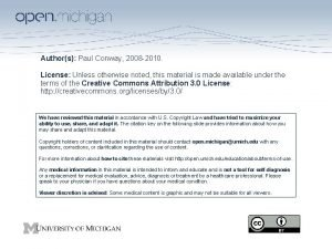 Authors Paul Conway 2008 2010 License Unless otherwise