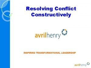 Resolving Conflict Constructively INSPIRING TRANSFORMATIONAL LEADERSHIP Contents Signs
