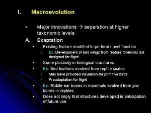 I Macroevolution Major innovations separation at higher taxonomic