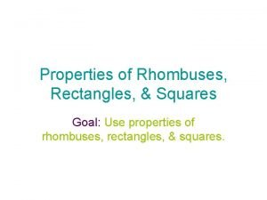 Properties of Rhombuses Rectangles Squares Goal Use properties