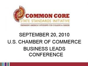 SEPTEMBER 20 2010 U S CHAMBER OF COMMERCE