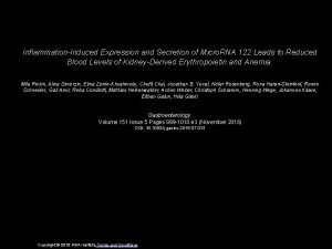 InflammationInduced Expression and Secretion of Micro RNA 122