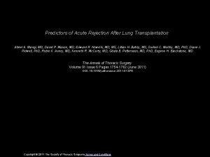 Predictors of Acute Rejection After Lung Transplantation Abeel