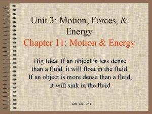 Unit 3 Motion Forces Energy Chapter 11 Motion