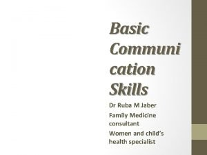 Basic Communi cation Skills Dr Ruba M Jaber