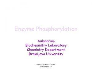 Enzyme Phosphorylation Aulanniam Biochemistry Laboratory Chemistry Department Brawijaya