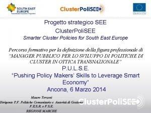 Progetto strategico SEE Cluster Poli SEE Smarter Cluster