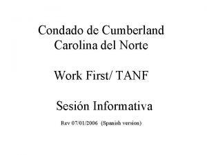 Condado de Cumberland Carolina del Norte Work First