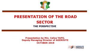 PRESENTATION OF THE ROAD SECTOR THE PERSPECTIVE Presentation