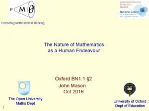 Promoting Mathematical Thinking The Nature of Mathematics as