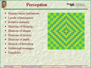 Perception Human vision limitations Levels of perception Relative