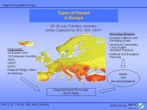 Regional Consultation Europe Types of Hazard European Regional