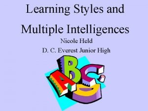 Learning Styles and Multiple Intelligences Nicole Held D